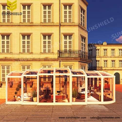 Tea house - Coffee House - Glass Retractable Sunhouse- Auto -Sun Room Ideas - Sunshield Shelter