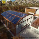 Dark Bronze Glass House - Polycarbonate Sunhouse - Retractable Commercial Enclosure -Sunshield