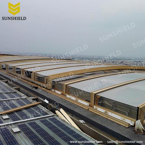 Retracting Pool Enclosure - Skylight Enclosure - Glass Sun Room - Polycarbonate Outdoor Dining Enclosures - Sunshield Shelter