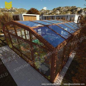 glass greenhouse - commercial greenhouse- aotomatic sun house -sunshied shelter