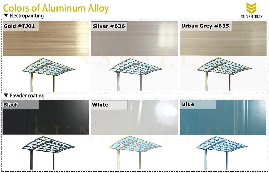 SUNSHIELD SHELTER - colors of aluminum - aluminum enclosure colors - sunhouse colors