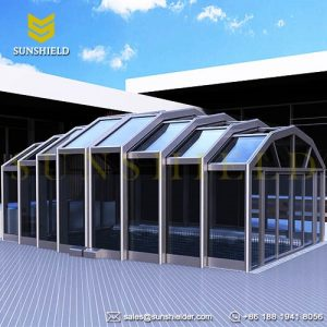 Freestanding Polygon Retractable Enclosure - Business Polygon Sunhouse - Glass Cage - Telescopic Pool Enclosures - Sunshield Shelter (2)