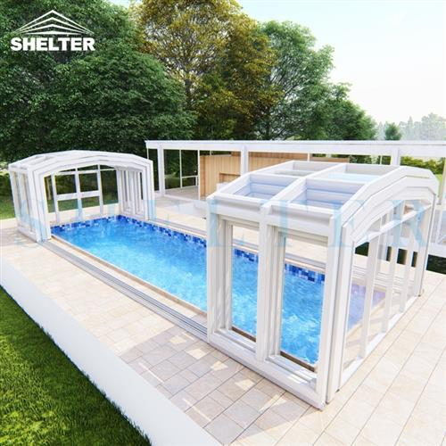 telescopic swimming pool enclosures-Jupiter High Pool Sunroom- Outside Retractable Pool Enclosures