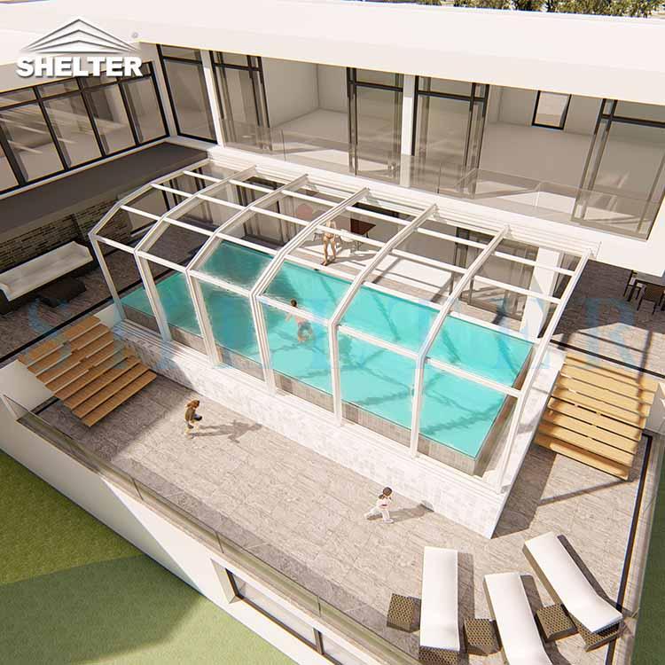 Modern Retractable Pool Enclosure-Retractable Patio Enclosures-Retractable Patio Enclosures-Inground Swimming Pool Enclosures-Retractable Rooftop Enclosure-Lean-To Retractable Porch Enclosures-Modern Sun Rooms