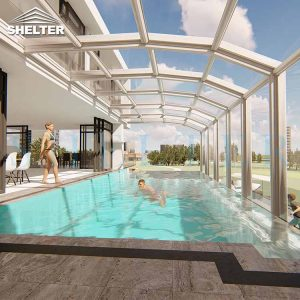 Modern Retractable Pool Enclosure For Villas Hotels Resorts-Sunshield-Shelter-12M-5.4M-White-2