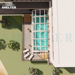 Modern Retractable Pool Enclosure For Villas Hotels Resorts-Sunshield-Shelter-12M-5.4M-White-4