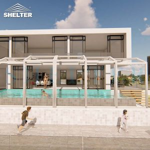 Modern Retractable Pool Enclosure For Villas Hotels Resorts-Sunshield-Shelter-12M-5.4M-White-5