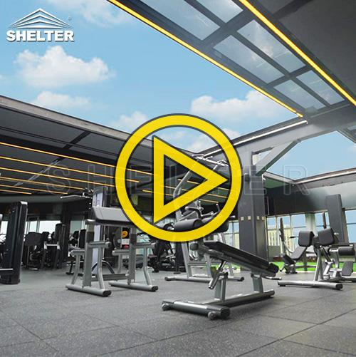 Commercial sunroom gym-Retractable Skylight- Flat Rooftop Enclosures-Sunshield Shelter