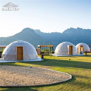 glamping resort on mountains-luxury tent hotels in Japan-glamping geodesic dome tent-eco living geodome tents (6)