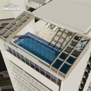 single slope Rooftop Pool Enclosure skypool enclosured with telescopic sunroom