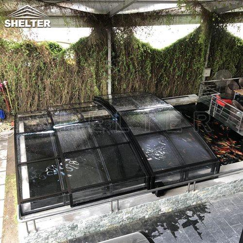 pond sunhouse-fish pond enclosures-Shelter telescopic sunroom (3)