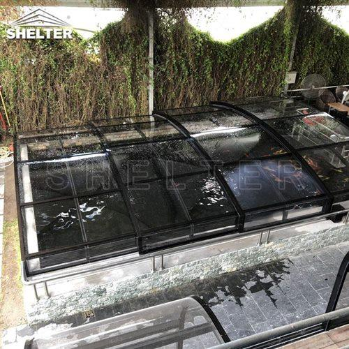 pond sunhouse-fish pond enclosures-Shelter telescopic sunroom (4)