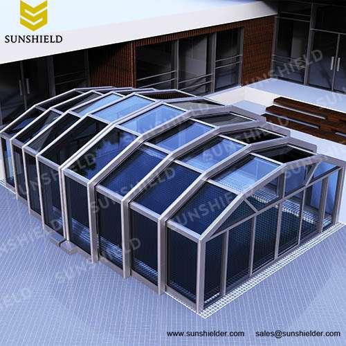 Commercial Retracting Enclosure - Polycarbonate Sunhouse - Sunshield Glass Pool Enclo.