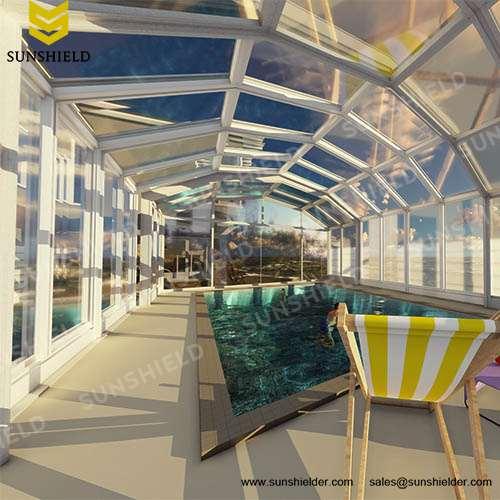 Swimming pool enclosures sunshield glass pool dome - Retractable swimming pool enclosures ...