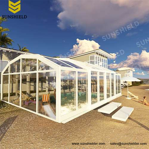Swimming Pool Enclosures   Retracatable Enclosures   Glass Pool Enclosure    Straight Pool Sunhouse  Sunshield