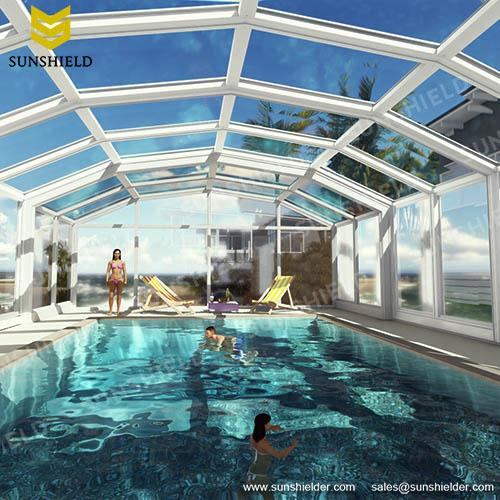 Swimming pool enclosures sunshield glass pool dome greenhouse for Opening swimming pool after winter