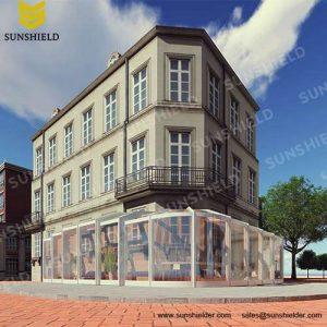 Three Screen retractable cafe enclo. - Commercial enclosure - Sunshield Sun room