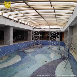 Skypool Enclosures- Gym Retractable Enclosures - Windbreak Hotel Enclosures - Sunshield Shelter