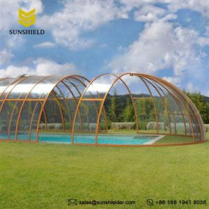 Swimming pool enclosures sunshield glass pool dome for Inground pool greenhouse