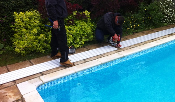 Installing Pool Enclosure Track-Pool Enclosure Installatio Step -SUNSHIELD Retractable Pool Enclosure