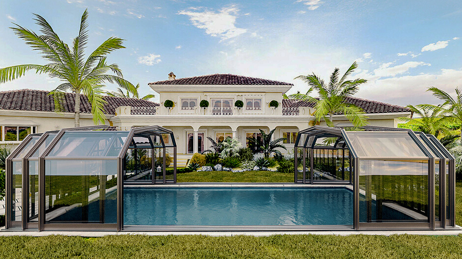Why Polycarbonate Enclosure is Better than Glass-Polycarbonate Panels VS Glass-SUNSHIELD Large Pool Enclosure