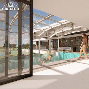 Modern Retractable Pool Enclosure For Villas Hotels Resorts-Sunshield-Shelter-12M-5.4M-White-3