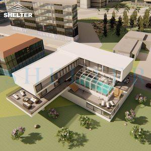 Modern Retractable Pool Enclosure For Villas Hotels Resorts-Sunshield-Shelter-12M-5.4M-White-6