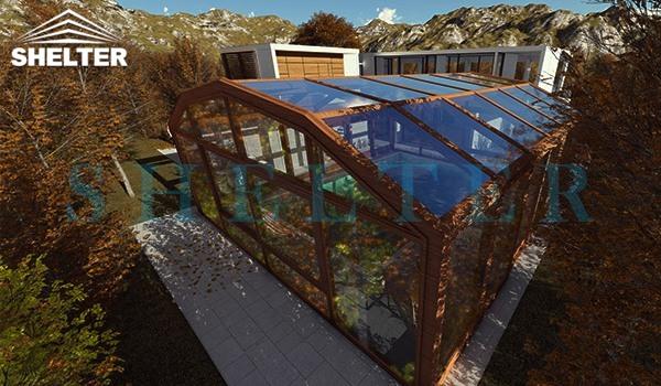 Outdoor Swimming Pool Enclosures-Bronze Aluminium Sunroom-Sunshield