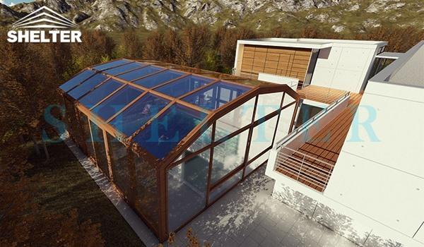 Outdoor Swimming Pool Enclosures-bronze swimming pool enclosure-SUNSHIELD