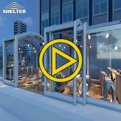 Patio Retractable Enclosure for Cafe & Bars