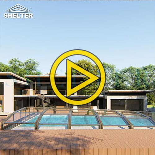 Jupiter Low line inground pool enclosures-Hotel Pool Enclosures-Sunshield Shelter