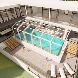 sunshield shelter enclosure Retractable Pool Enclosures
