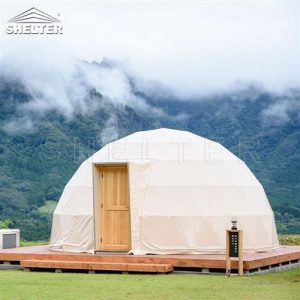 glamping resort on mountains-luxury tent hotels in Japan-glamping geodesic dome tent-eco living geodome tents (1)