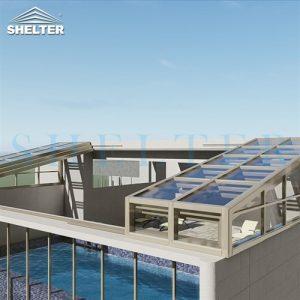 single slope Rooftop Pool Enclosure skypool enclosured with telescopic sunroom