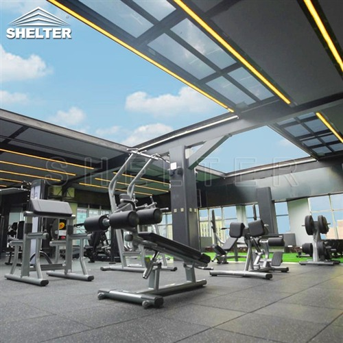 Rooftop Telescopic Enclosures gym rooftop sunroom enclosure for gym (2)