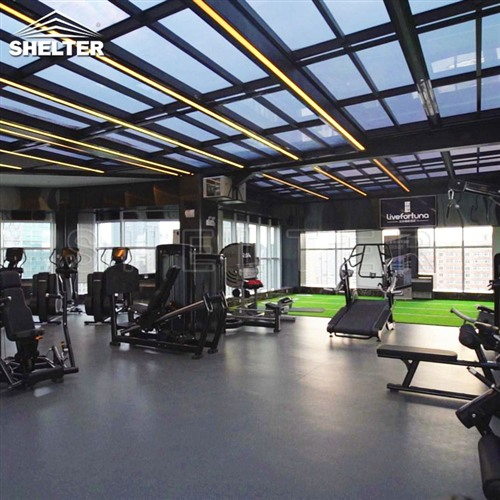 Rooftop Telescopic Enclosures gym rooftop sunroom enclosure for gym (3)