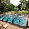 arch roof lowline pool enclosure Retractable Pool Enclosures