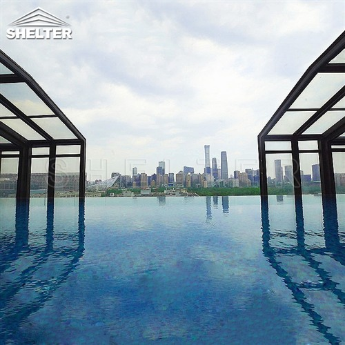 hotel lean to pool enclosures-wall attached pool screens-telescopic pool enclosure-Shelter Pool Enclosure Covers (1)