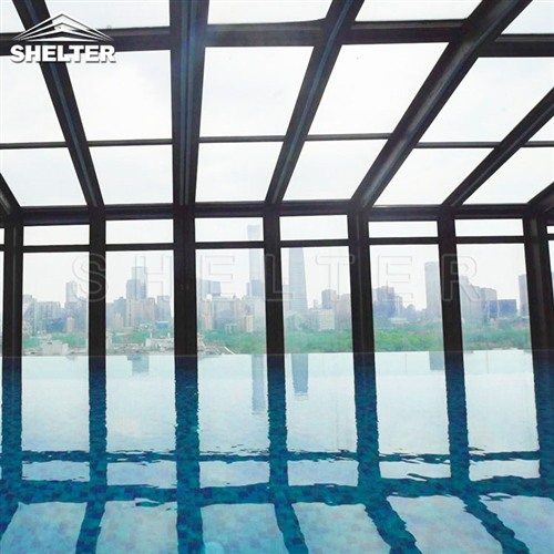 hotel lean to pool enclosures-wall attached pool screens-telescopic pool enclosure-Shelter Pool Enclosure Covers (3)