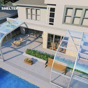telescopic Sunroom additions shelter patio enclosures retractable sunroom 4x10m