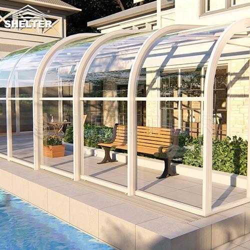 telescopic Sunroom additions shelter patio enclosures retractable sunroom 4x10m (2)