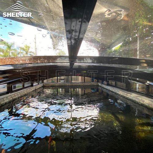 pond sunhouse-fish pond enclosures-Shelter telescopic sunroom (1)