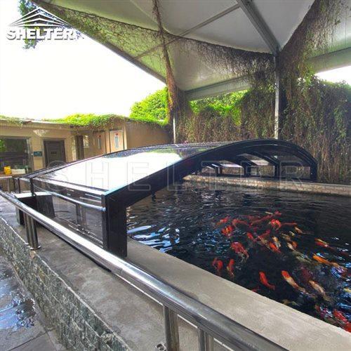 pond sunhouse-fish pond enclosures-Shelter telescopic sunroom (2)
