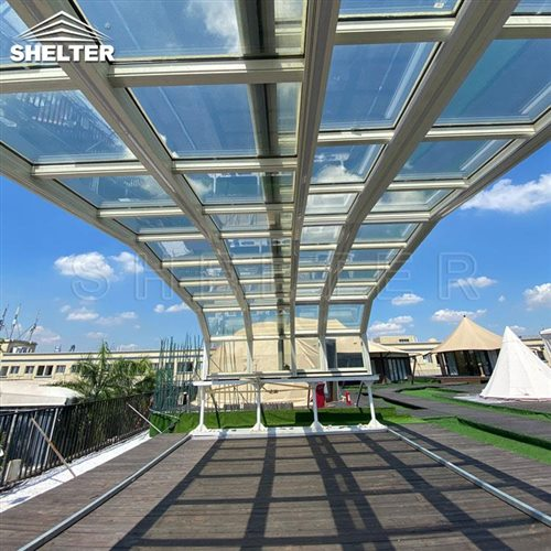 rooftop bar sunroom-retractable clear enclosures-Shelter telescopic sunhouse (1)