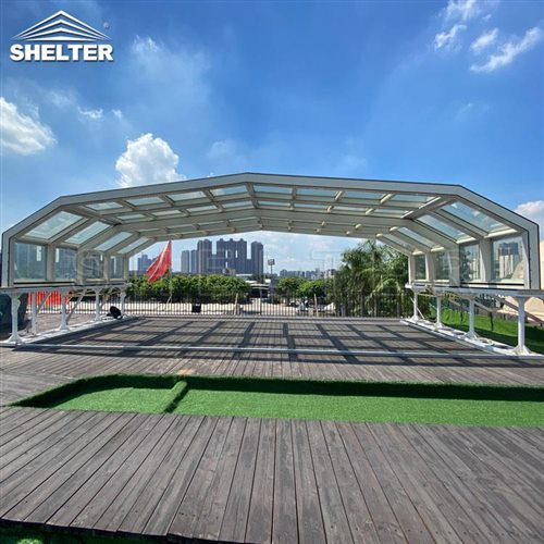 rooftop bar sunroom-retractable clear enclosures-Shelter telescopic sunhouse (3)